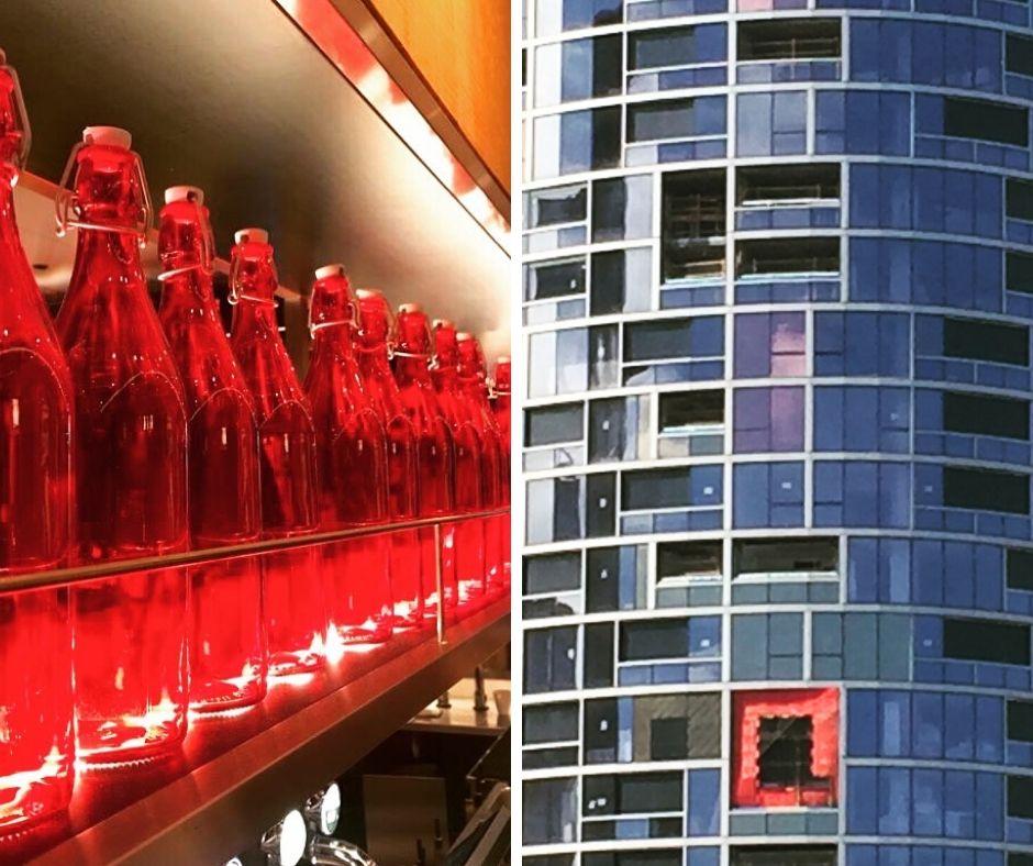 Flaschen und Fenster
